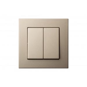Выключатель 2-клавишный, пружинные контакты, led-подсветка, без рамки, EPSILON шампань