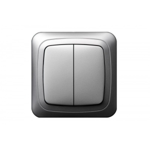 Выключатель 2-клавишный, led-подсветка, без рамки, ALFA металлик