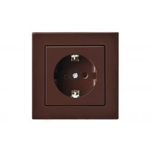 Розетка с заземлением, пружинные контакты, без рамки, EPSILON коричневый