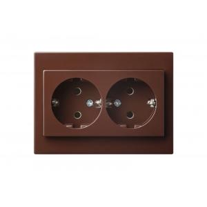 Розетка  2-местная с заземлением, с рамкой, EPSILON коричневый