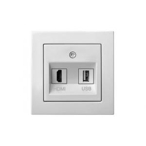 Розетка HDMI+USB, без рамки, EPSILON белый