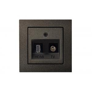 Розетка HDMI+TV, без рамки, EPSILON антрацит