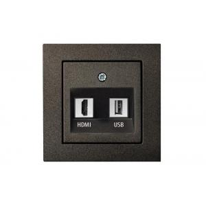 Розетка HDMI+USB, без рамки, EPSILON антрацит