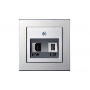 Розетка HDMI+USB, без рамки, EPSILON металлик