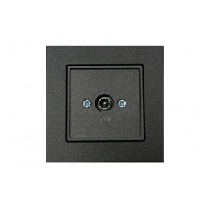 Розетка для ТВ проходная 12 dB, без рамки, EPSILON антрацит