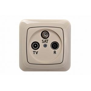 Розетка TV+R+SAT проходная 10 dB, без рамки, ALFA песочный
