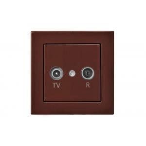 Розетка для ТВ+радио оконечная, без рамки, EPSILON коричневый