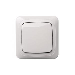 Выключатель 1-клавишный IP44, с рамкой, ALFA белый
