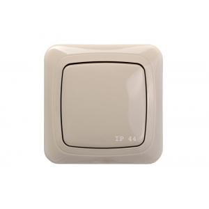Выключатель 1-клавишный, с рамкой, ALFA песочный