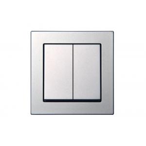 Выключатель 2-клавишный, пружинные контакты, led-подсветка, без рамки, EPSILON металлик