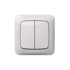 Выключатель 2-клавишный, led-подсветка, без рамки, ALFA белый