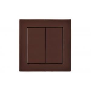 Выключатель 2-клавишный, пружинные контакты, led-подсветка, без рамки, EPSILON коричневый