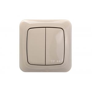 Выключатель 2-клавишный импульсный, без рамки, ALFA песочный