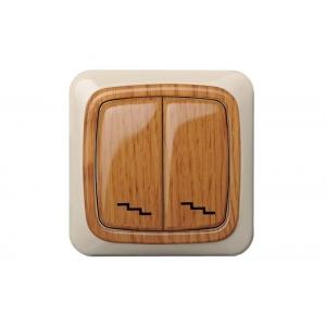 Переключатель 2-клавишный, без рамки, ALFA дуб