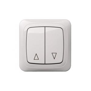 Выключатель для жалюзи, с рамкой, ALFA белый
