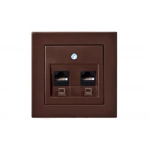 Розетка компьютерная 2-местная, без рамки, EPSILON коричневый