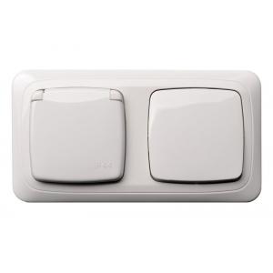 Блок из розетки и выключателя, IP44, с рамкой, ALFA белый