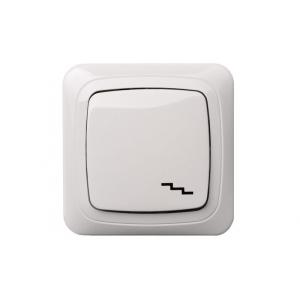 Переключатель 1-клавишный, с рамкой, ALFA белый