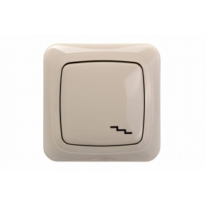 Переключатель 1-клавишный, led-подсветка, без рамки, ALFA песочный