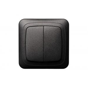 Выключатель 2-клавишный, с рамкой, ALFA черный