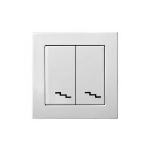 Переключатель 2-клавишный, без рамки, EPSILON белый