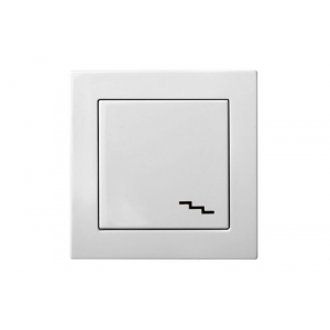 Переключатель 1-клавишный, пружинные контакты, без рамки, EPSILON белый