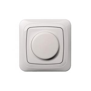 Поворотный диммер (светорeгулятор) 600W, с рамкой, ALFA белый