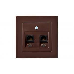 Розетка телефонная 2-местная, без рамки, EPSILON коричневый