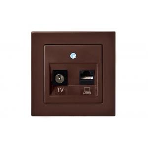 Розетка для ТВ+компьютер, без рамки, EPSILON коричневый