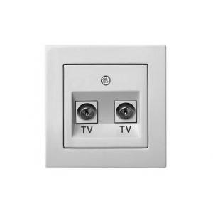 Розетка для ТВ 2-местная, без рамки, EPSILON белый