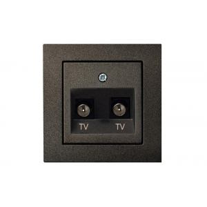Розетка для ТВ 2-местная, без рамки, EPSILON антрацит
