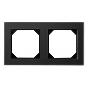 Рамка 2-местная, EPSILON стекло черное матовое (в пленке)