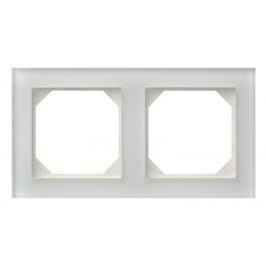 Рамка 2-местная, EPSILON стекло белое матовое (в пленке)