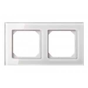 Рамка 2-местная, EPSILON стекло белое глянцевое
