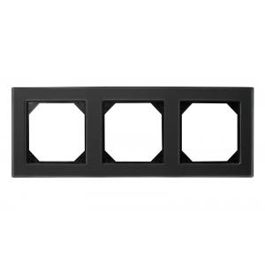 Рамка 3-местная, EPSILON стекло черное матовое (в пленке)