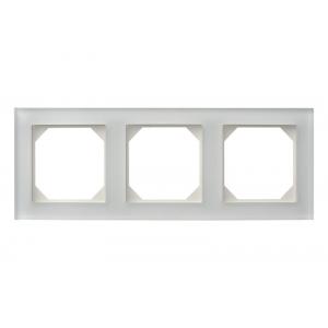Рамка 3-местная, EPSILON стекло белое матовое (в пленке)