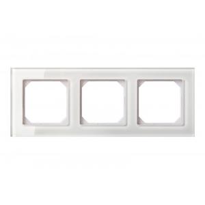 Рамка 3-местная, EPSILON стекло белое глянцевое