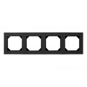 Рамка 4-местная, EPSILON стекло черное матовое (в пленке)