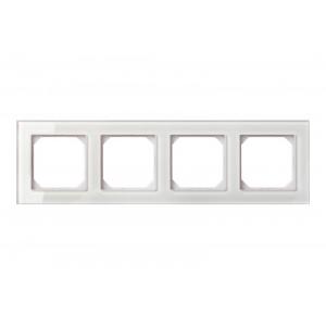 Рамка 4-местная, EPSILON стекло белое глянцевое (в пленке)
