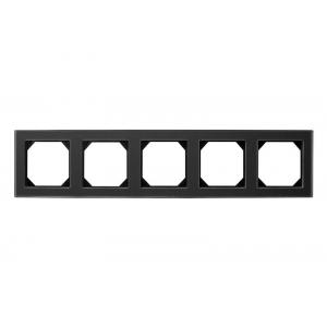 Рамка 5-местная, EPSILON стекло черное матовое (в пленке)