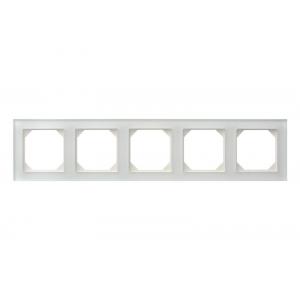 Рамка 5-местная, EPSILON стекло белое матовое (в пленке)