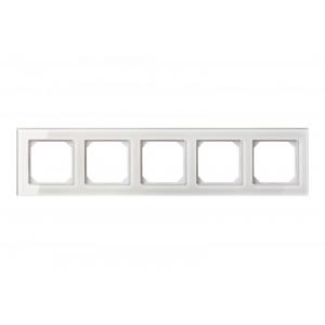 Рамка 5-местная, EPSILON стекло белое глянцевое (в пленке)