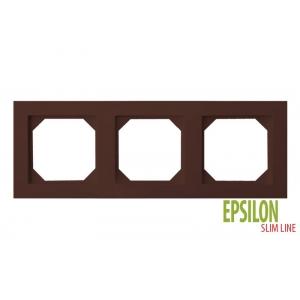 Рамка 3–местная SlimLine, EPSILON коричневый