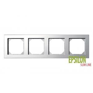 Рамка 4–местная SlimLine, EPSILON металлик