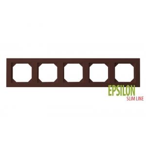Рамка 5–местная SlimLine, EPSILON коричневый