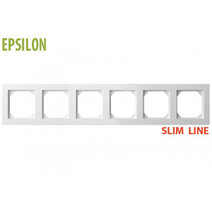 Рамка 6–местная SlimLine, EPSILON белый