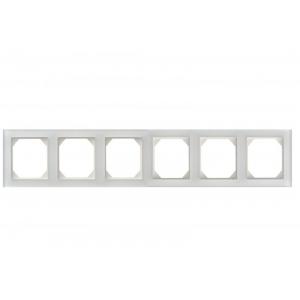 Рамка 6-местная, EPSILON стекло белое глянцевое (в пленке)