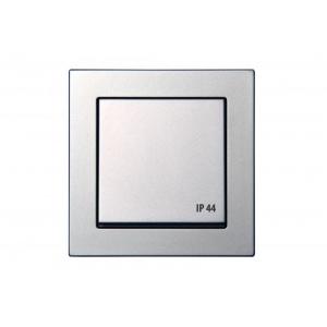 Розетка с заземлением, с крышкой, IP44, пружинные контакты, без рамки, EPSILON металлик