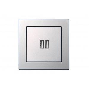 2-местное USB зарядное устройство, без рамки, EPSILON металлик