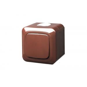Выключатель 1-клавишный, IP44, открытого монтажа, HERMI коричневый